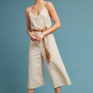 Anthropologie Lacausa brown linen jumpsuit S